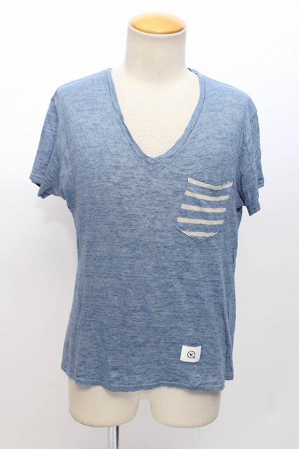 VANQUISH Tシャツ.切換えボーダーポケットリネンVネック