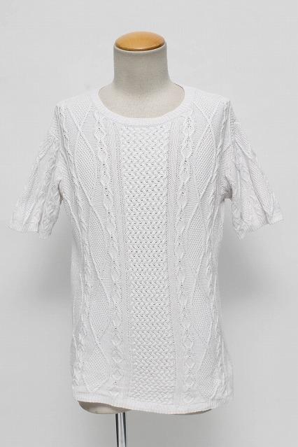 GOSTAR DE FUGA カットソー.Navisケーブル編み半袖サマーニットソー