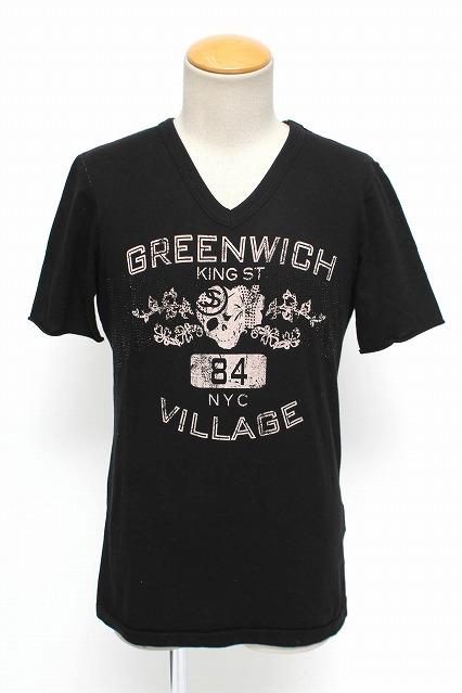 FranCisT_MOR.K.S. Tシャツ.カレッジロゴNYCスワロフスキー