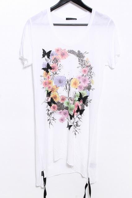 KMRii Tシャツ.ラメフラワースカル