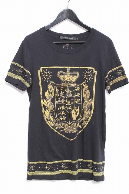 NO ID.BLACK Tシャツ.C天竺EmblemプリントルーズC/N-T