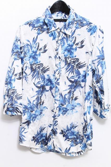 FUGA シャツ.Orchid 花柄ジャガード6分袖