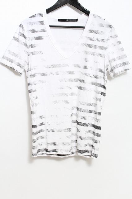 NO ID. Tシャツ.コットン天竺クラックボーダー