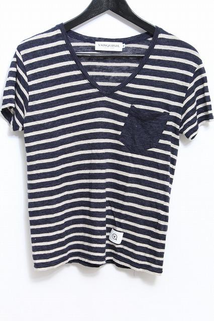 VANQUISH Tシャツ.切換え無地ポケットリネンボーダー