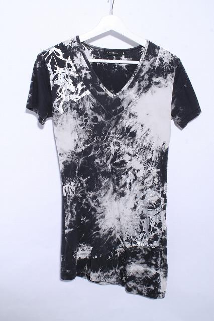 CIVARIZE Tシャツ. Keenラインストーン箔ムラ染め半袖Tシャツ