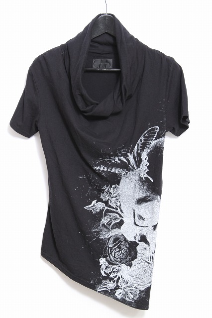 MURDER LICENSE Tシャツ.ビッグスカルローズドレープネック