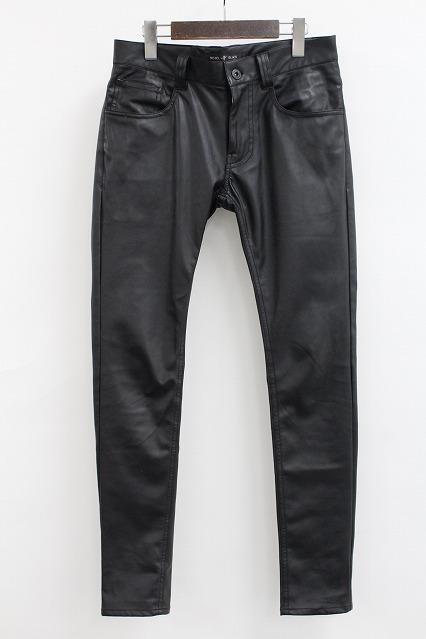 NO ID.BLACK パンツ.シンセティックレザー5PスキニーPT