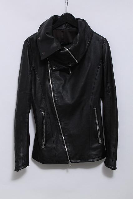 NO ID.BLACK ジャケット.ラムレザーネイキッドドレープブルゾン
