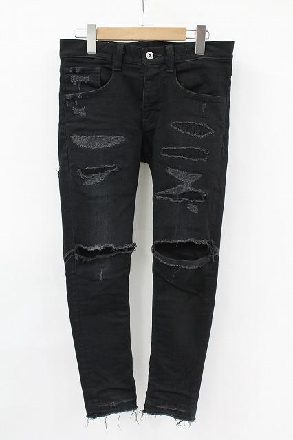 NO ID.BLACK パンツ.11ozストレッチデニムハードクラッシュリペアスキニーPT