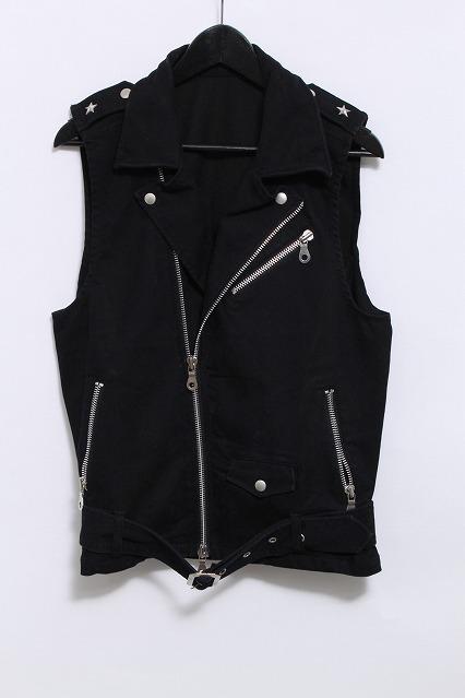 NO ID.BLACK ジャケット.ストレッチデニムWライダースベスト