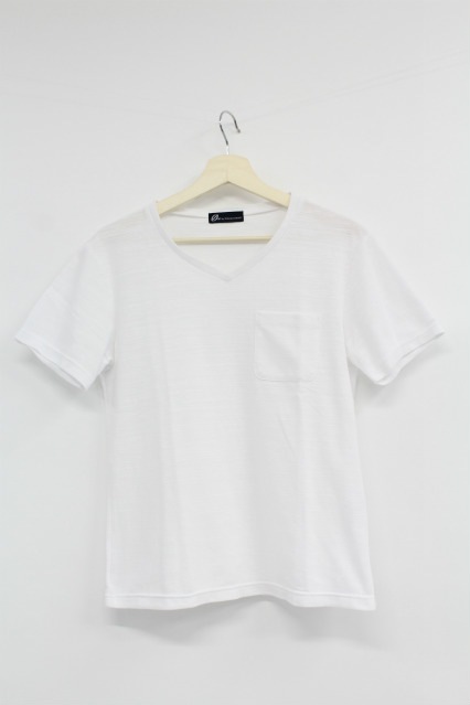 TORNADO MART Tシャツ.胸ポケット付きVネック半袖
