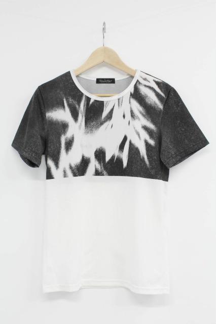 TORNADO MART Tシャツ.ソリビア天竺 ブロックプリント
