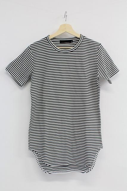 FUGA Tシャツ.Mosquito リップル加工ロング丈ボーダー半袖