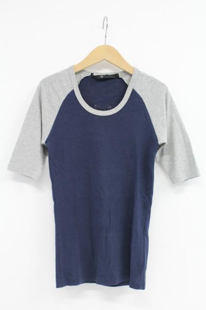 NO ID. Tシャツ.フライス配色5分袖ラグランUネック