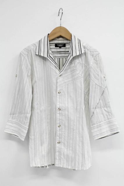 TORNADO MART シャツ.5分袖パッチワーク