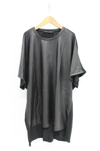 NO ID. Tシャツ.C天竺シンセティックレザー切替C/N-BIG