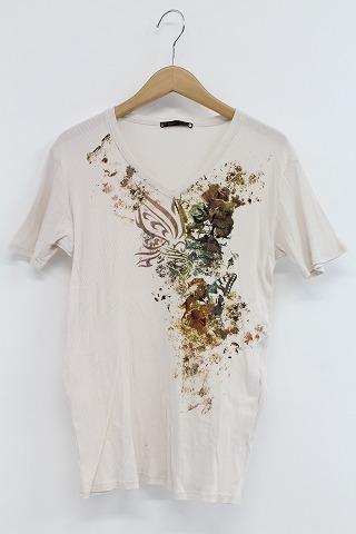 TORNADO MART Tシャツ.バタフライプリントテレコVネック
