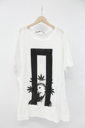 NO ID.BLACK Tシャツ.C天竺シンセティックレザー切替C/N-BIG-T