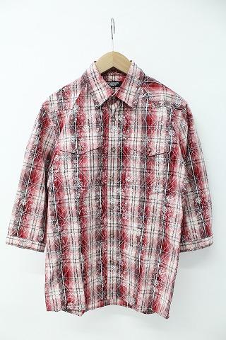 TORNADO MART シャツ.チェック×フラワープリント7分袖