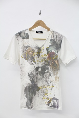 TORNADO MART Tシャツ.ローズスカルプリントVネック