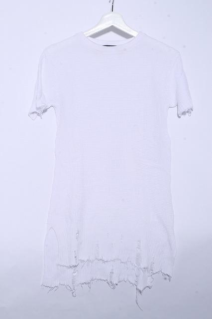 FUGA Tシャツ.IlVento ダメージニットロング丈半袖Tee