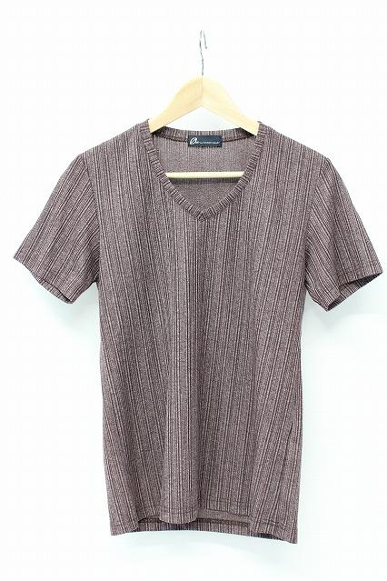 TORNADO MART Tシャツ.ランダムテレコABS Vネック