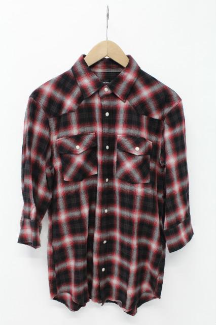 JACKROSE シャツ.オンブレチェック5分袖ウエスタン