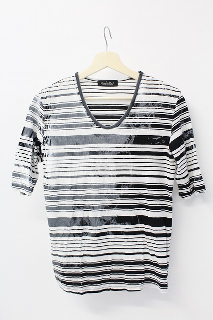 TORNADO MART Tシャツ.スモークランダムボーダーVネック
