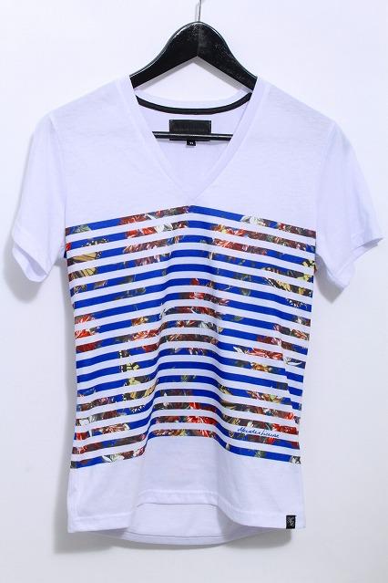 MURDER LICENSE Tシャツ.リゾートパネルボーダーVネック
