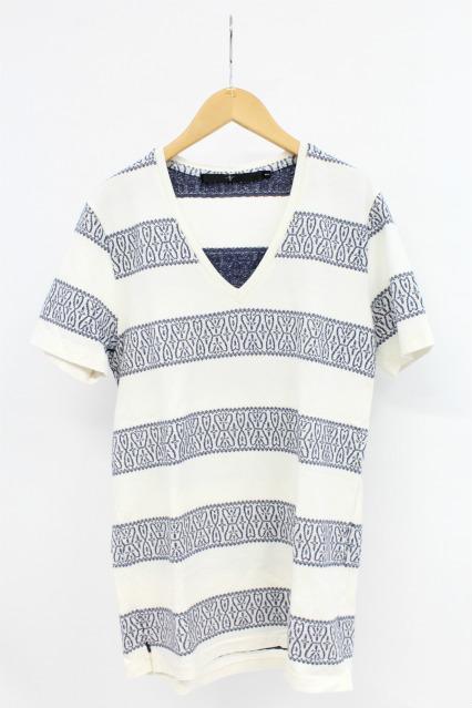 NO ID. Tシャツ.CバンダナボーダーディープV/N-T