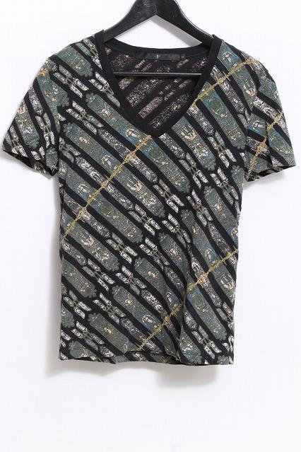 NO ID. Tシャツ.C天竺スラントステンドグラスプリントVN-T