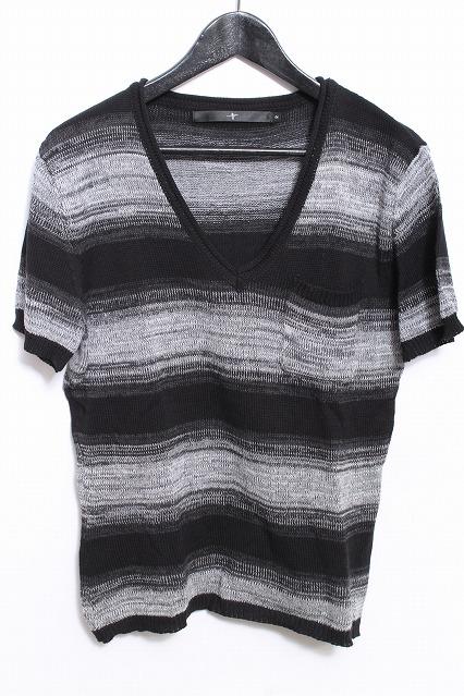 NO ID. Tシャツ.コットンニットグラデーションボーダーVネック