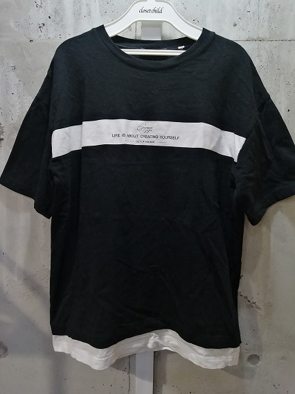 GOSTAR DE FUGA Tシャツ.フェイクレイヤードラインプリントBIGシルエット半袖